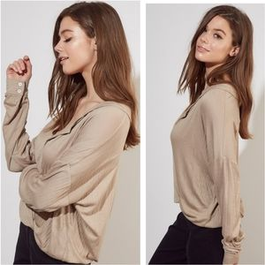 Surplice front long sleeve taupe blouse